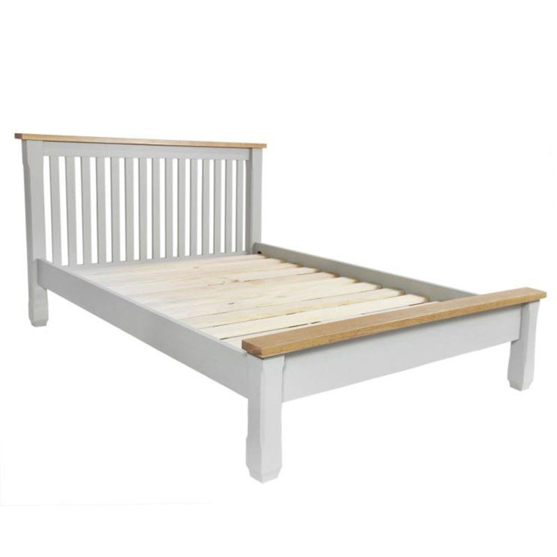 Grey Wooden Double Bed Part - 38: Sandringham Solid Oak Painted Cream/Grey Bed (Single/Double/King)
