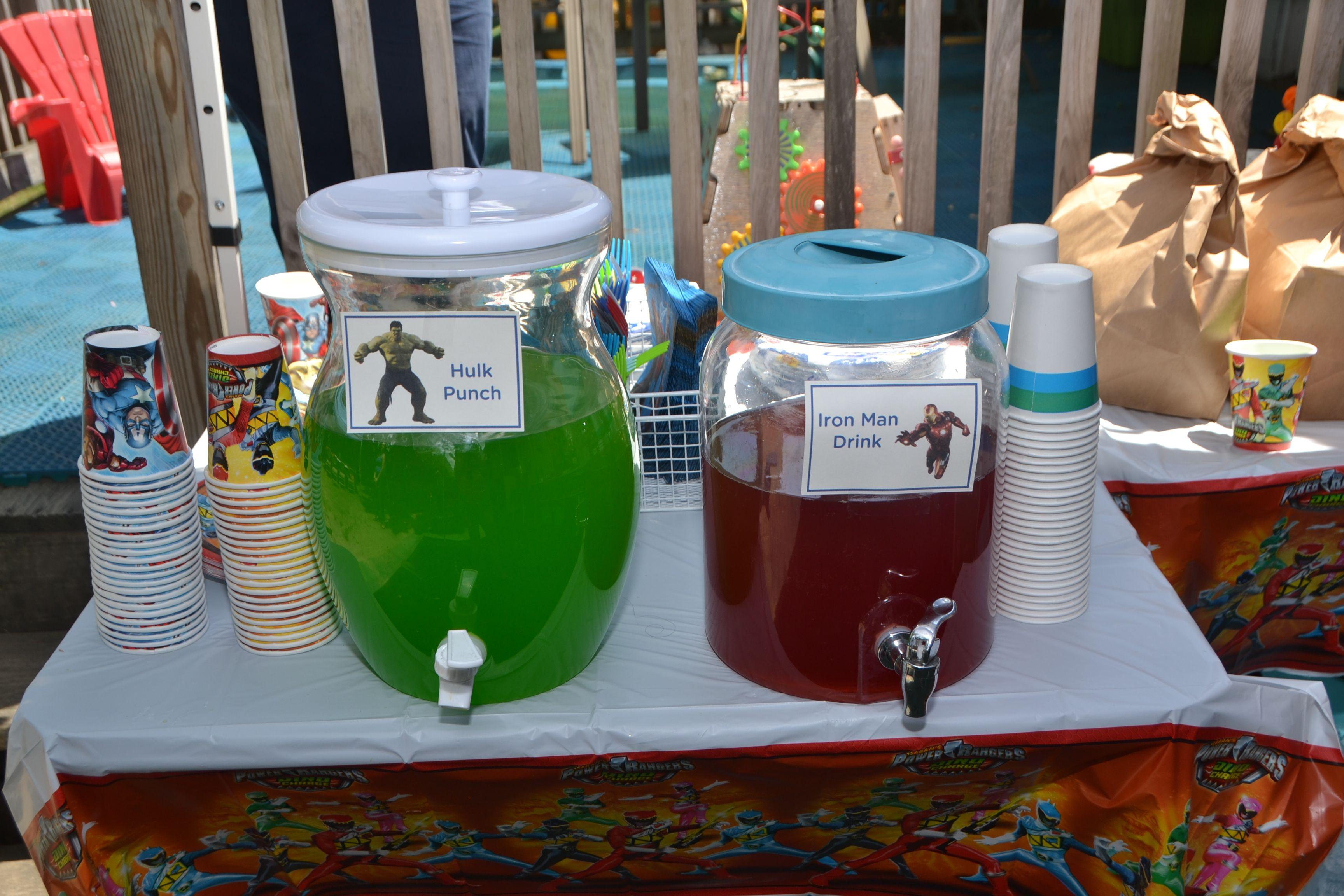 Superhero Birthday Party Drink Ideas The Avengers Hulk