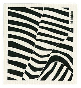 """Schwammtuch """"Zebra"""" (weiß/ schwarz). Das bedruckte Schwammtuch ist ein Naturprodukt und einfach in der Waschmaschine zu reinigen. Er verfärbt nicht, hat eine lange Lebensdauer und ist kompostierbar. Produziert in Deutschland. 20 cm x 22 cm. 70% Viskose, 30% Baumwolle. - Erhältlich bei: http://shop.hokohoko.com"""
