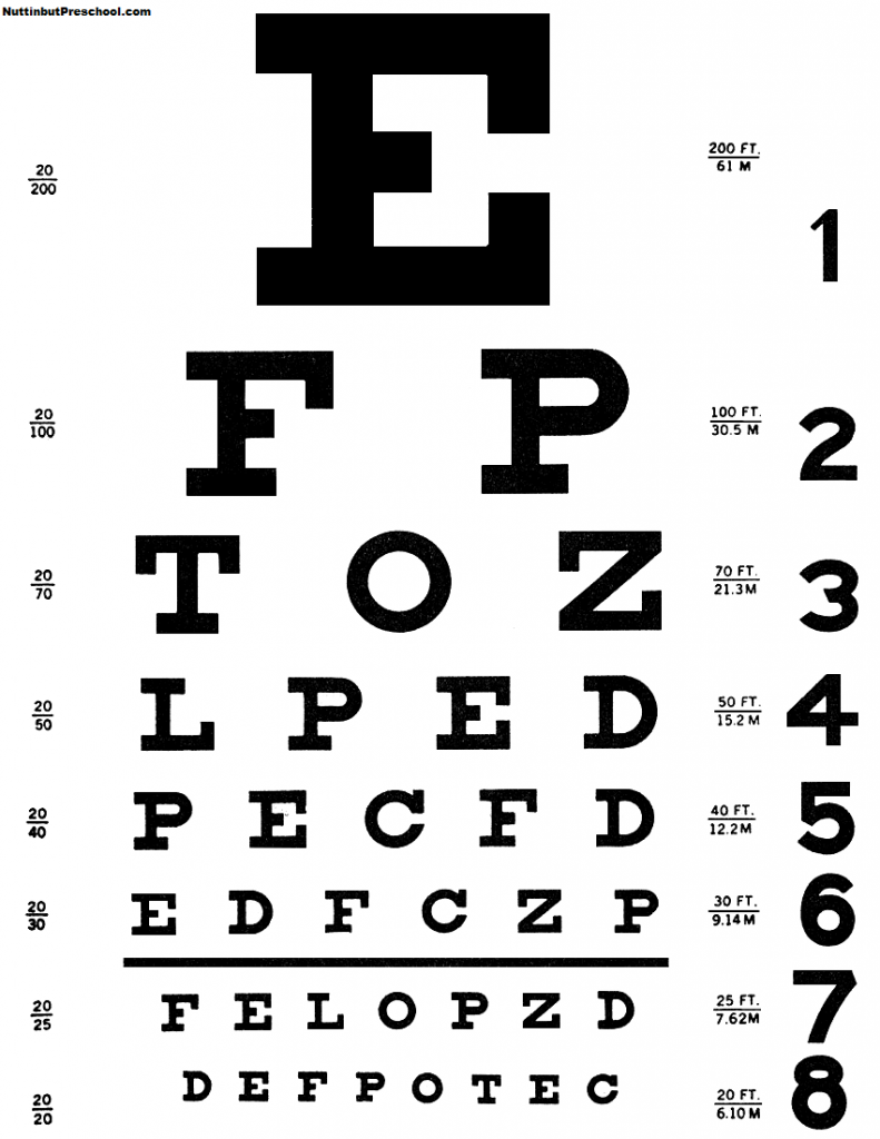 Eye doctor eye chart for house corner preschool fall themes