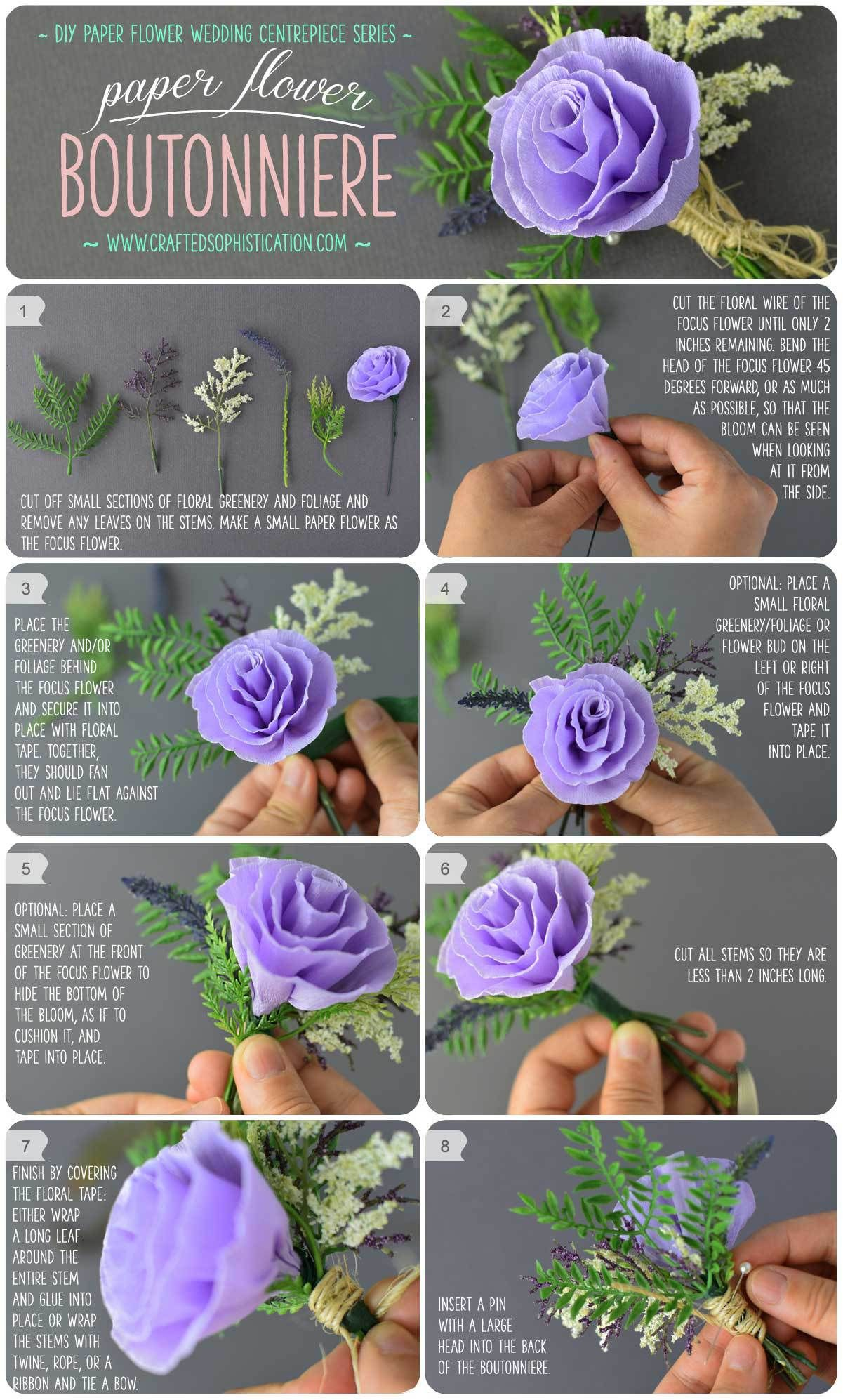 Diy Paper Flower Boutonniere Diy Pinterest Diy Paper
