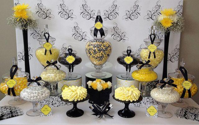 Black White Yellow Wedding Candy Buffet