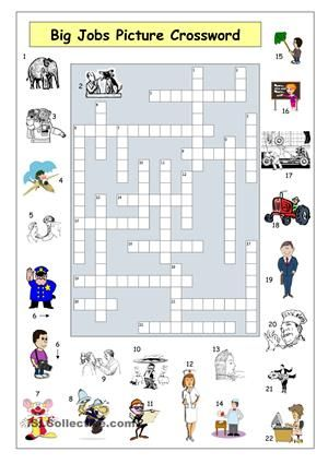 Picture crossword that can be used to consolidate vocabulary and ...