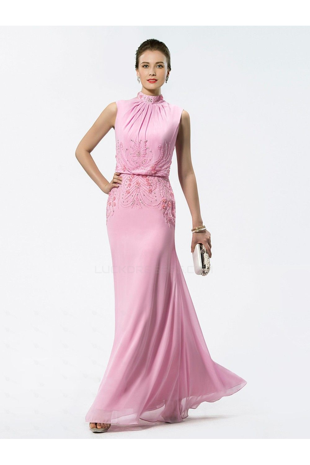 Trumpet/Mermaid Beaded High Neck Long Pink Chiffon Mother of the ...