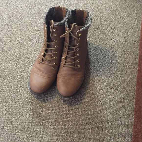 Brown Combat Style Boots With Sweater Knit Top Brown Leather