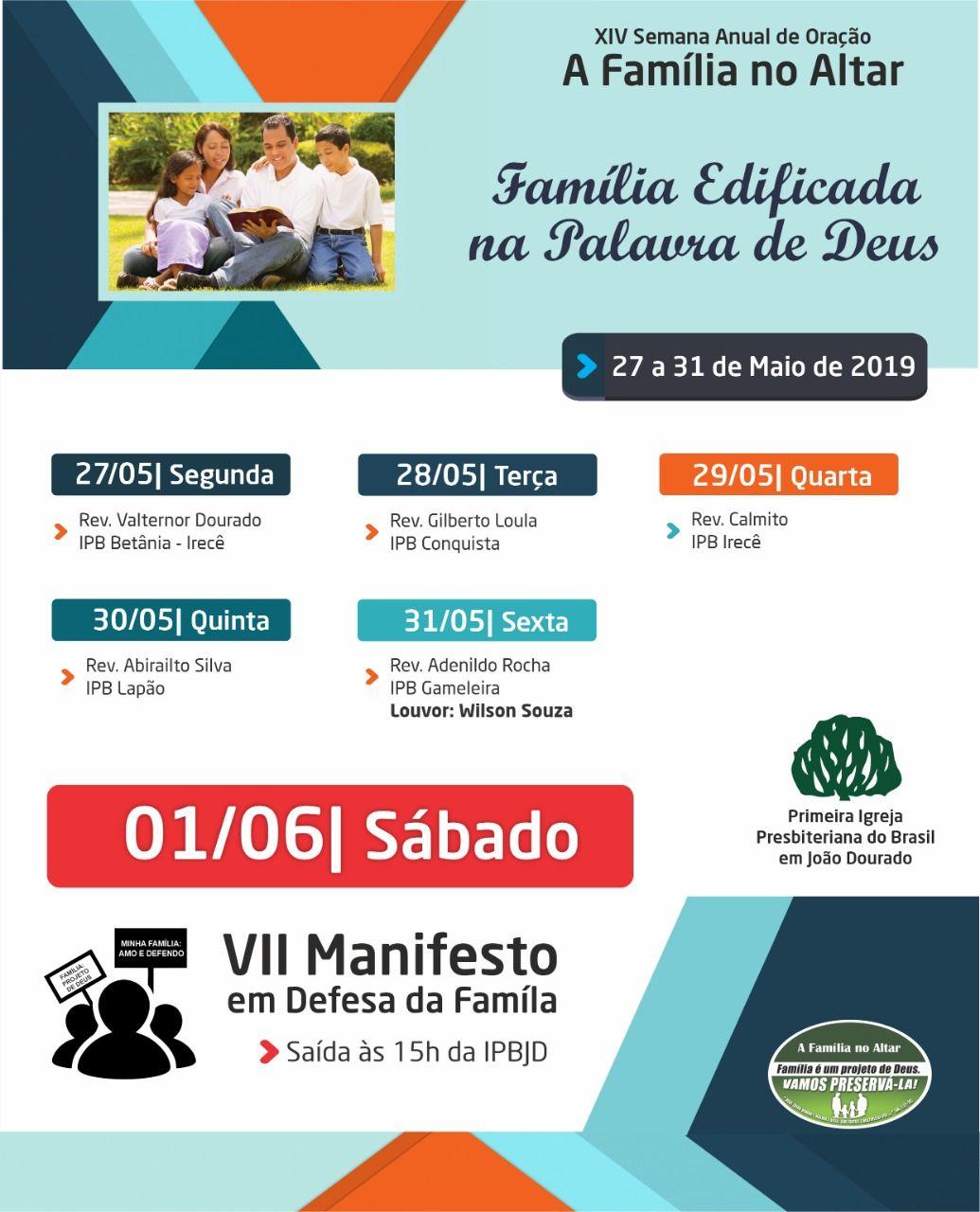 Participe Da Xiv Semana Anual De Oracao A Familia No Altar De 27