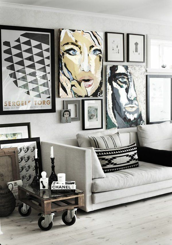 Wandgestaltung Wohnzimmer Mit Tapete Beispiele | Wandgestaltung Wohnzimmer  U2013 20 Kreative Wanddeko Ideen