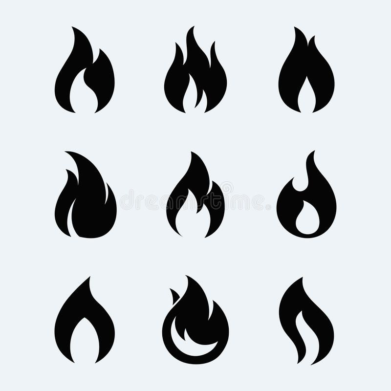 fire icon vector set fire flames isolated from background