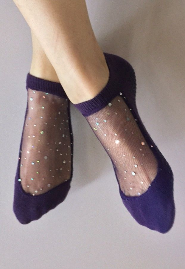 Shashi Star Socks with Gripper Soles - sparkly barre socks - gifts under $25                                                                                                                                                     Plus