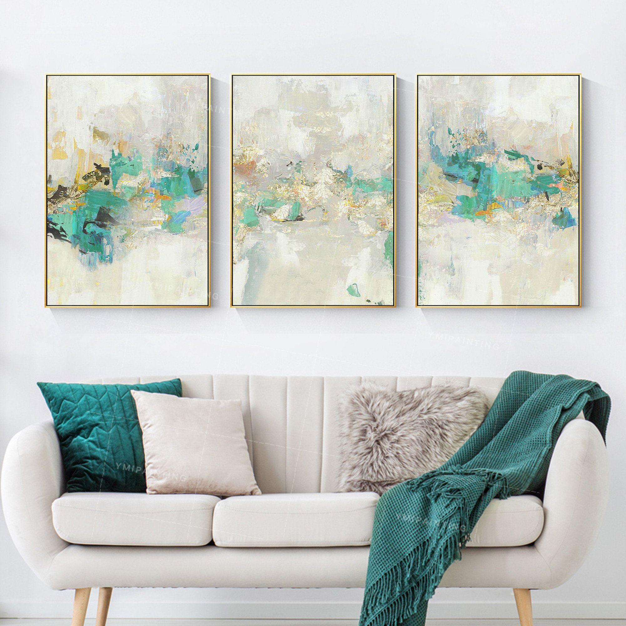 3 Pieces Or Art Peinture Abstraite Sur Toile De Tableau Dart Etsy 3 Piece Canvas Art Etsy Art Prints Wall Art Pictures