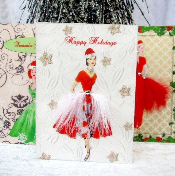 Christmas Card Collection / C6 Size / Set of 3 Vintage by BSylvar, $18.00