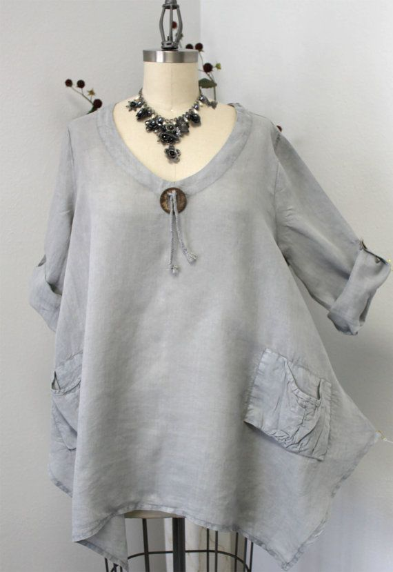 Gotta have Summer New Linen Oversized designer Lagenlook Tunic top with Front Pockets #gottahaveit