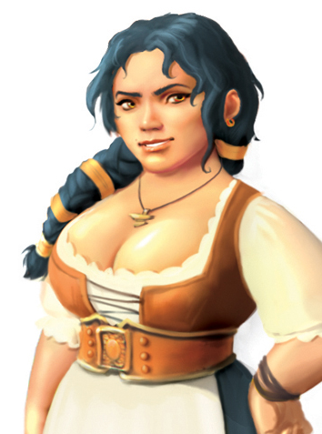 The dwarf and inn-owner Fowga Bemerkhur like her bosom and enjoy customers who show their respectful appreciation for it at her inn the Blue hair.