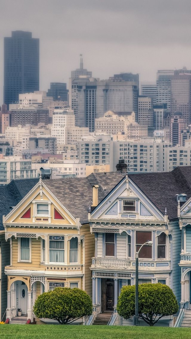 Victorian Houses In Alamo Square San Francisco California Usa Iphone 5s Wallpaper