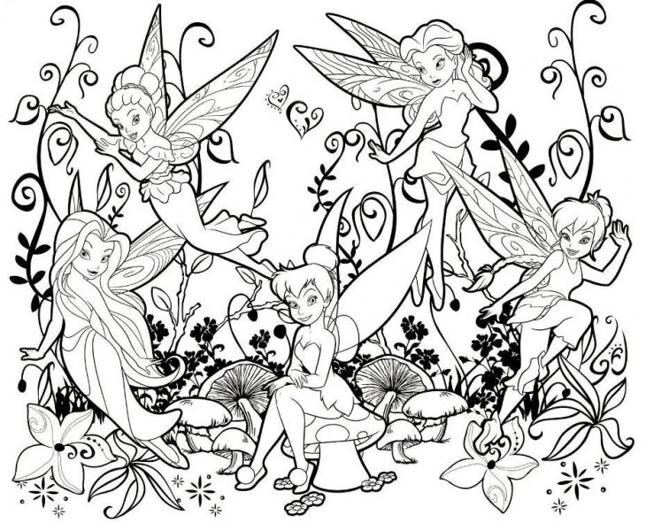 Online Printable Tinkerbell And Other Fairies Coloring Page For Kids