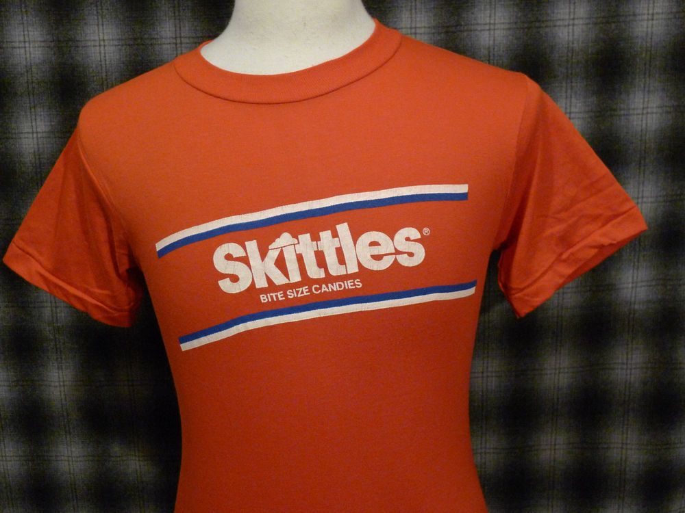 b9517032d03c VINTAGE 70s SKITTLES T-SHIRT SMALL USA MADE ANVIL BITE SIZE CANDY DEADSTOCK  WOW!  Anvil  GraphicTee