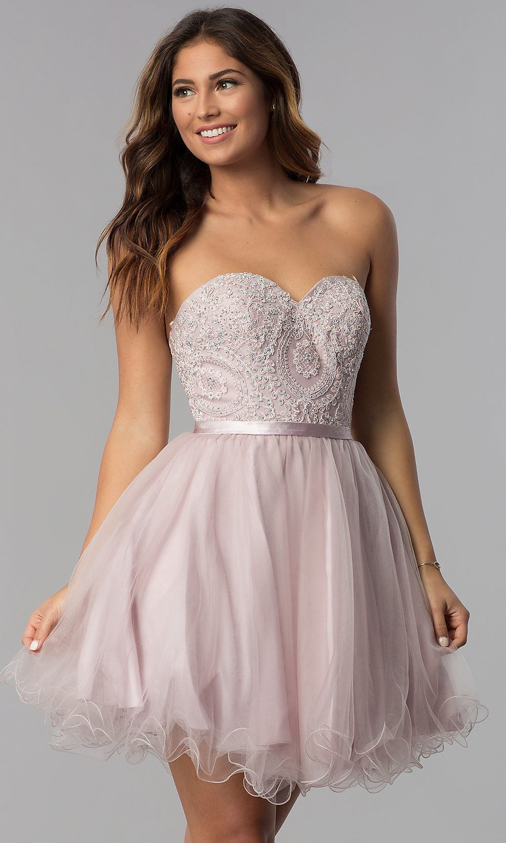 Dusty Pink Short Strapless Sweetheart Hoco Dress Tulle Dress Short Pink Dress Short Short Strapless Prom Dresses [ 1666 x 1000 Pixel ]
