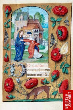 One of my favorite styles of illumination!   :-) Miniature of the Visitation, with a scatter border of red roses, moths, a fly, and a deer, at the beginning of Lauds in the Hours of the Virgin.   Origin:Netherlands, S. (Bruges)   Attribution:collaborator of the Master of the Dresden Prayer book