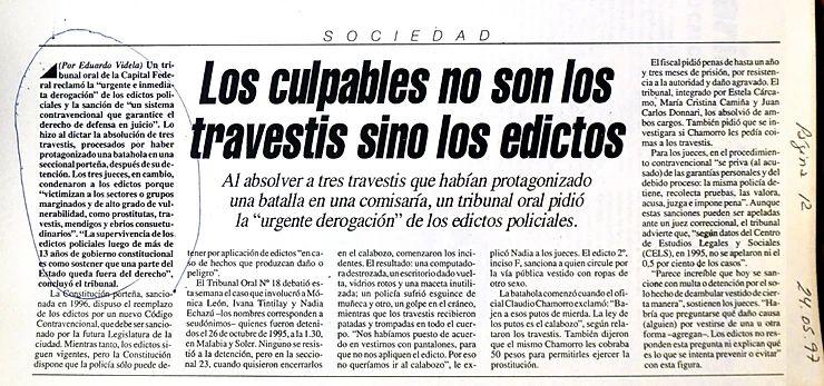 Artículo del diario Página12. 24 de mayo de 1997. Fondo Marcelo Ferreyra. Programa de Memorias Políticas Feministas y Sexogenéricas, CeDInCI