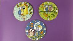 ceramica come mestiere: Basi per orologi con gufi in cuerda seca.