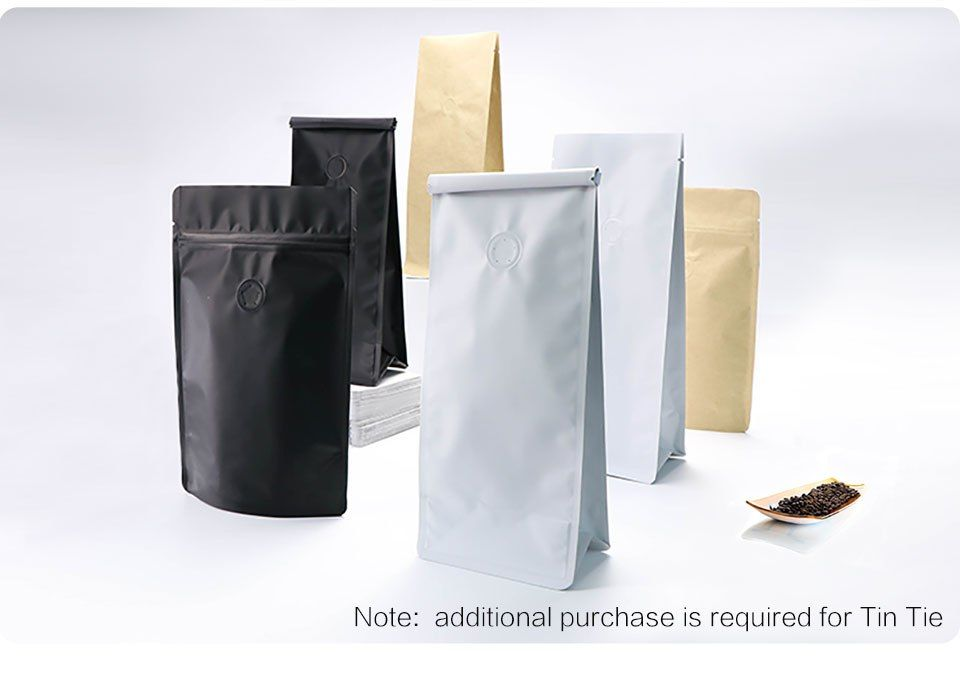 Coffee Bags Block Bottom Stand Up Pouch 1 4 1 2 1 Pound Matte Black White Kraft Alppm Coffee Bag Fine Coffee Coffee