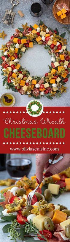 Christmas Wreath Cheeseboard | www.oliviascuisine.com | A simple but festive Christmas Wreath Cheeseboard is all you need to get the part… | Food recipes, Dessert for dinner, Food drink #hurricanefoodideas