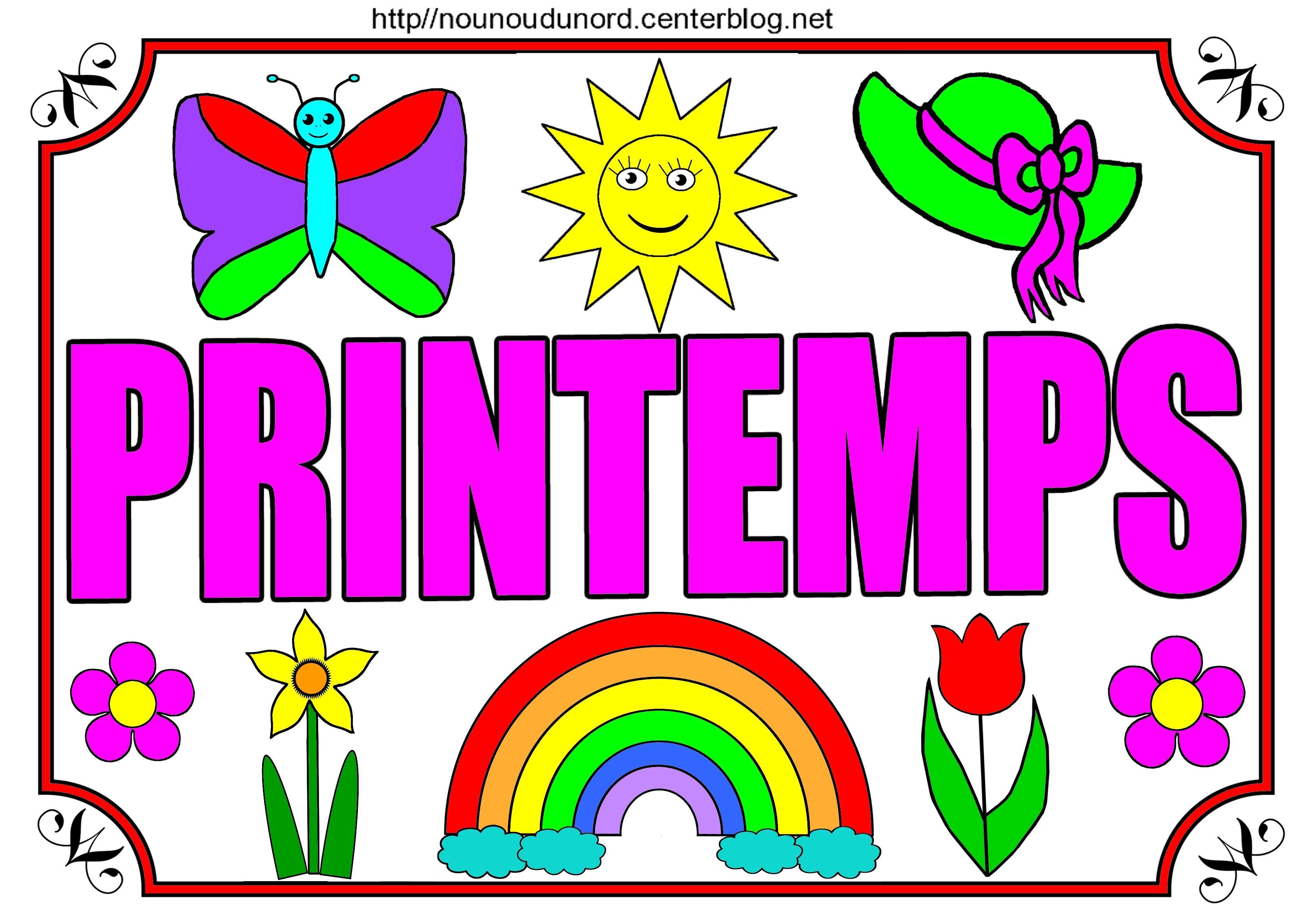Printemps colorier gommettes en couleur et coller les gommettes ou dessiner autour du mot - Image du printemps a colorier ...