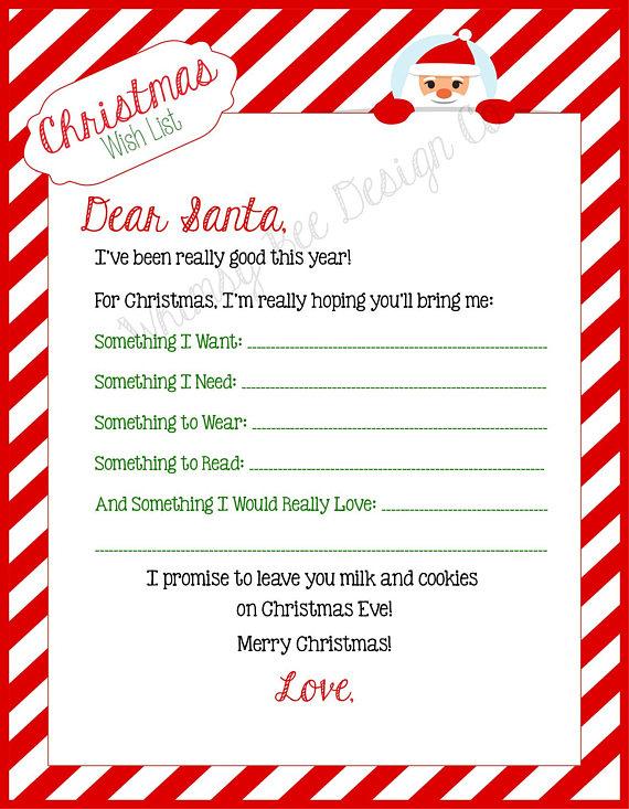 Printable Christmas Wish List, Dear Santa Letter, Letter to Santa - printable santa wish list