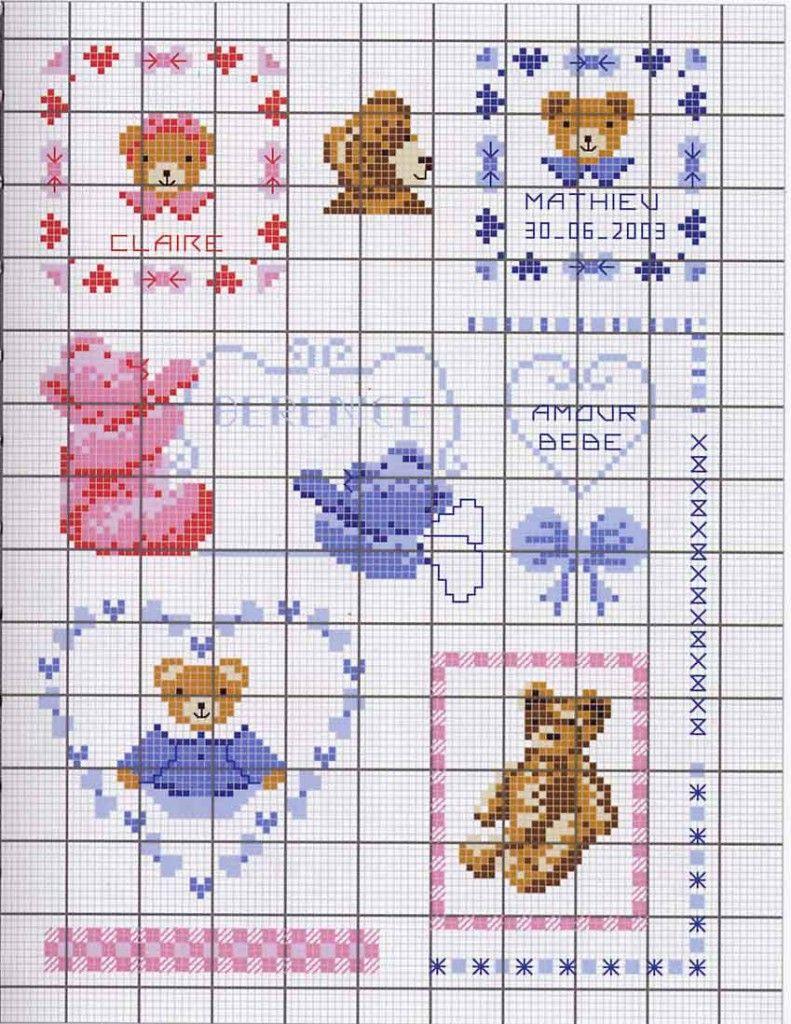 Modèle Broderie Point De Croix : modèle, broderie, point, croix, Grille, Broderie, Bavoir, Bébé, Bébé,, Point, Croix,, Croix