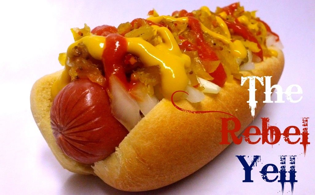 The Rebel Yell:  Tennessee's Best Hot Chow Chow, Sriracha, Diced Onion & Yellow Mustard