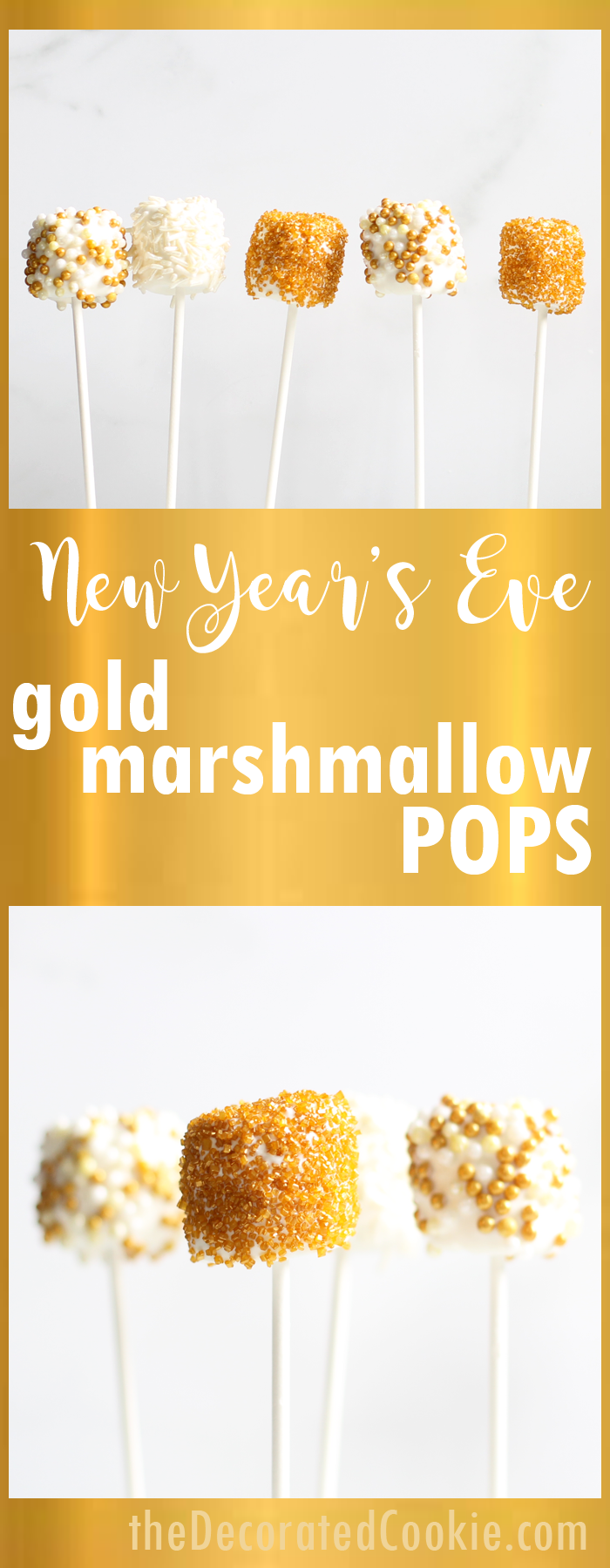 New year's eve marshmallows-- Sparkly gold marshmallow pops #newyearsevefood