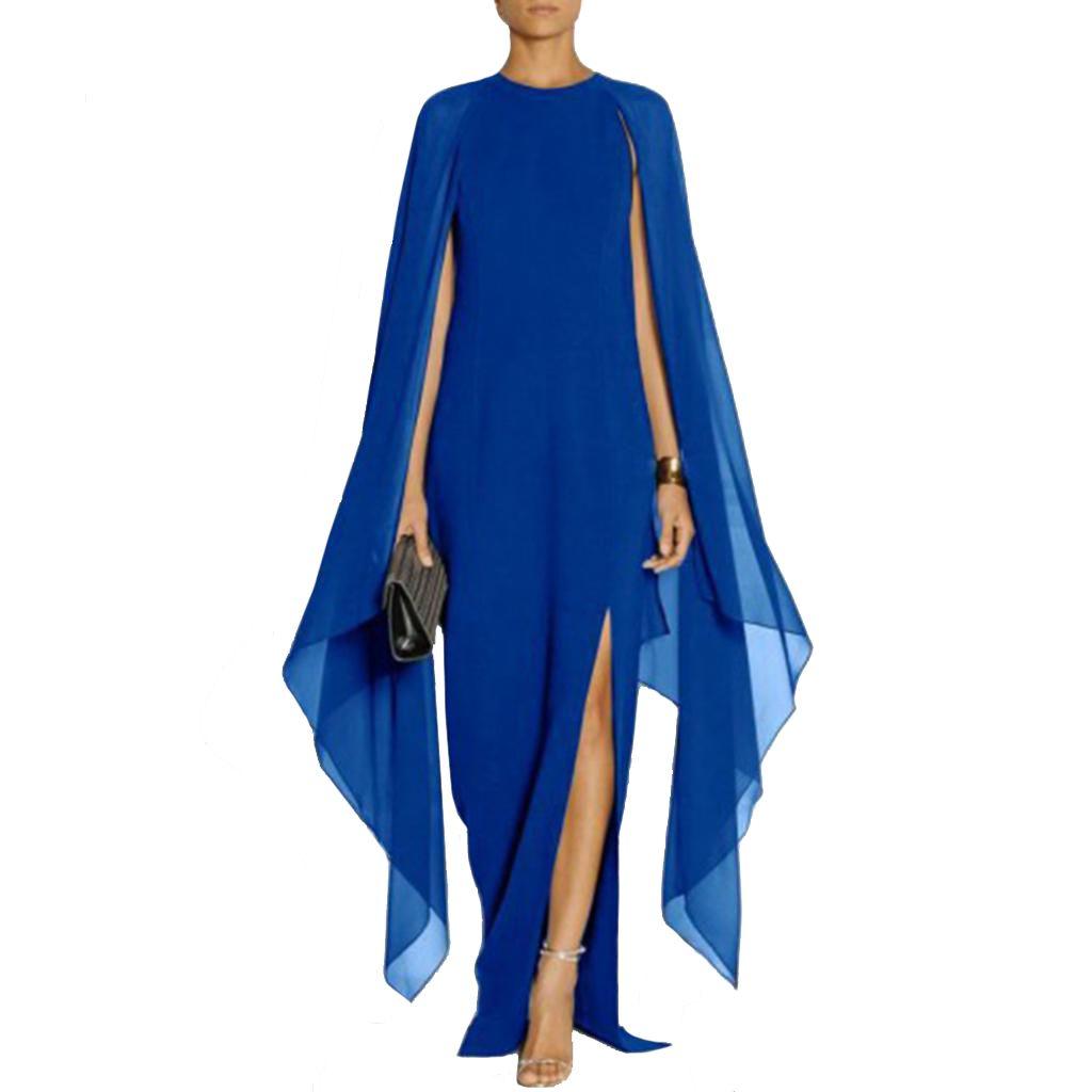 Jurken Lange Dames.Goedkope Vrouwen Elegante Slanke Cape Lange Jurk Mode Avond Jurken