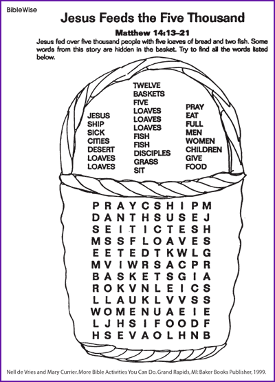 Word Search Jesus Feeds 5000