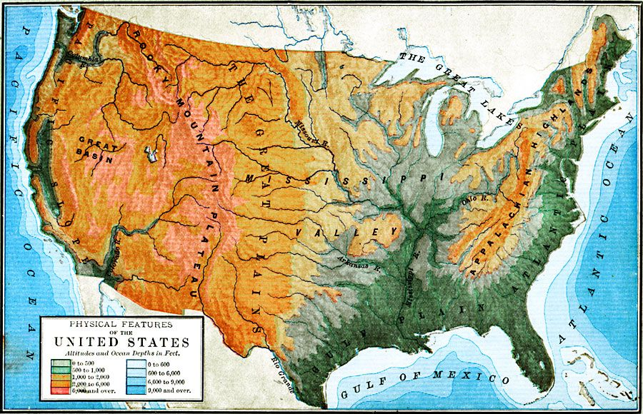 Physical Map Of USA | Physical Features of the United States, 1898 ...