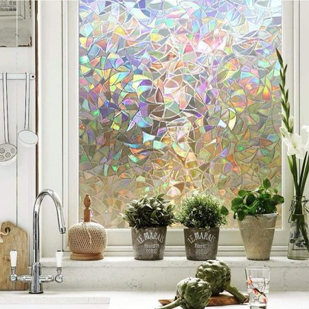 Tayyakoushi 3d Window Films Privacy Film Static Decorative Film Non Adhesive Heat Control Anti Uv 17 7in By 78 7in Rainbow Walmart Com In 2020 Stained Glass Window Film Window Film Privacy Decorative