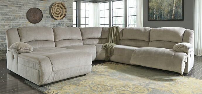 5 Pc Toletta Ii Collection Granite Colored Fabric Sectional Sofa With Recliners And Chaise This Set Includes The Raf Recliner Armless Chair