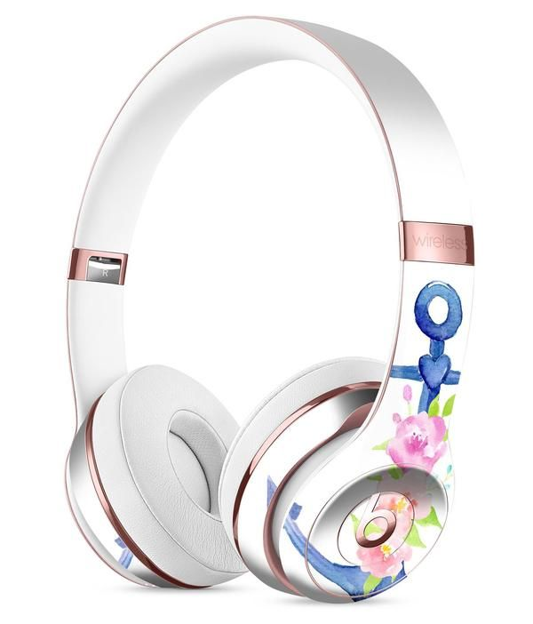f1780ac420c Watercolor Floral Anchor Full-Body Skin Kit for the Beats by Dre Solo 3  Wireless Headphones