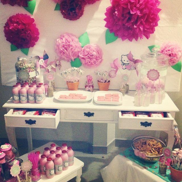 Hello Kitty Birthday Party Ideas Paper flower backdrop Kitty