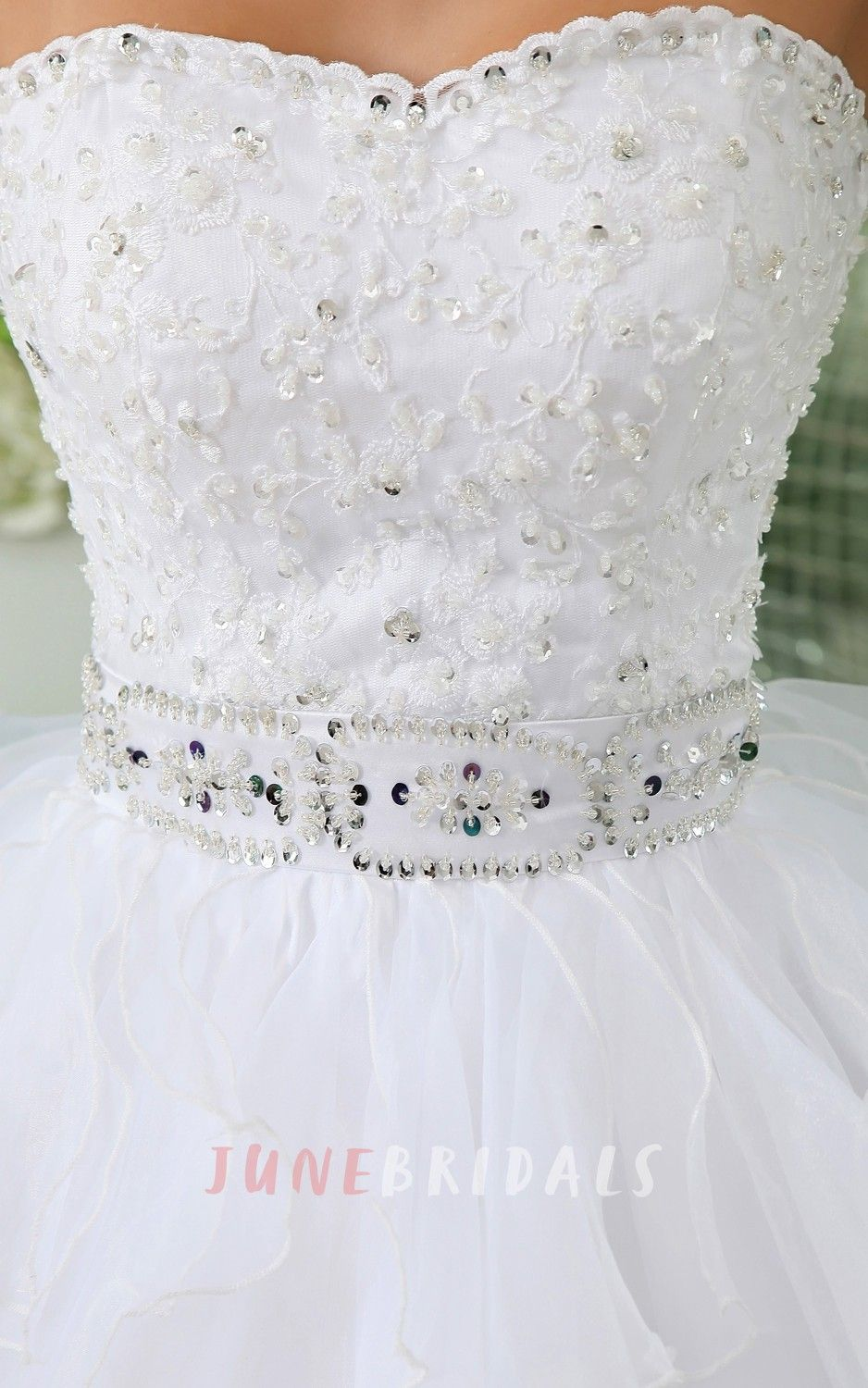 Strapless Short Layers Dress With Crystal Detailings And Ruffles