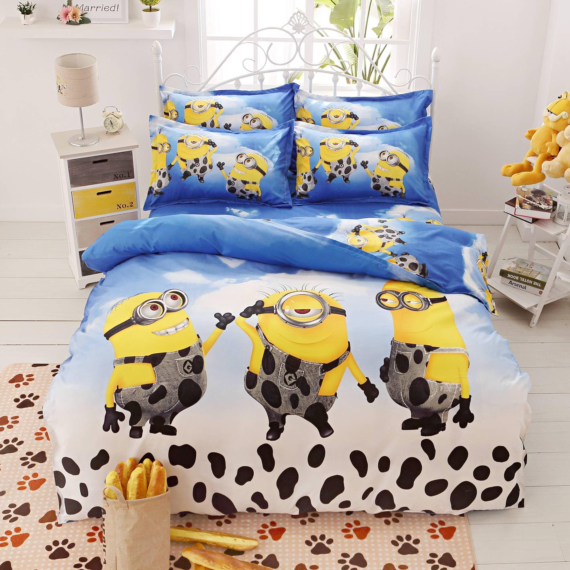 Hello kitty bedsheet blue - Home Textile Cartoon Children Kids Bedding Set Red Minions Hello Kitty Mickey Mouse Bed Linen Duvet