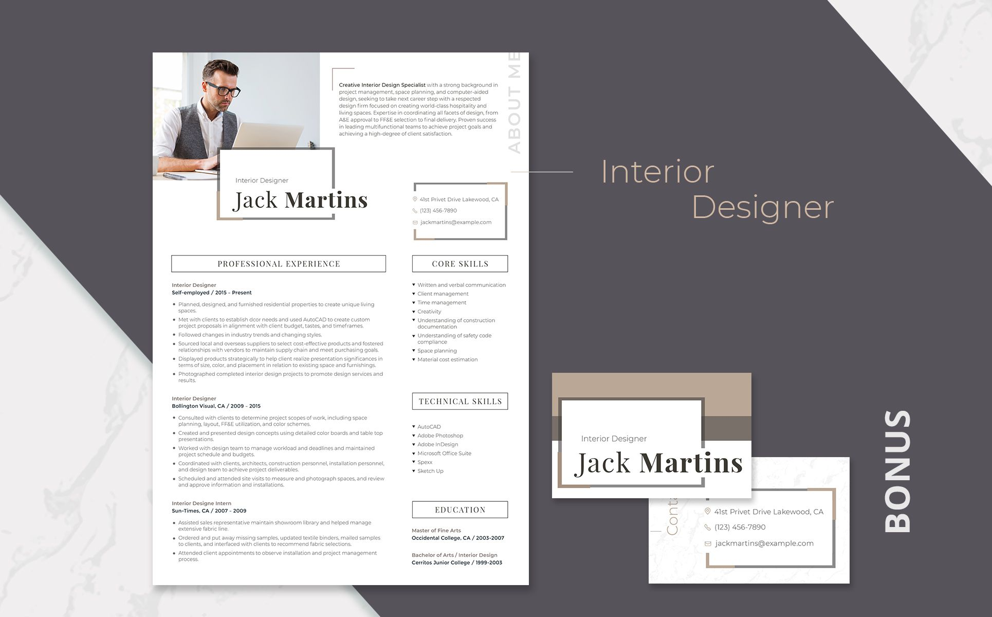 Jack Martins Interior Designer Resume Template 66437 With