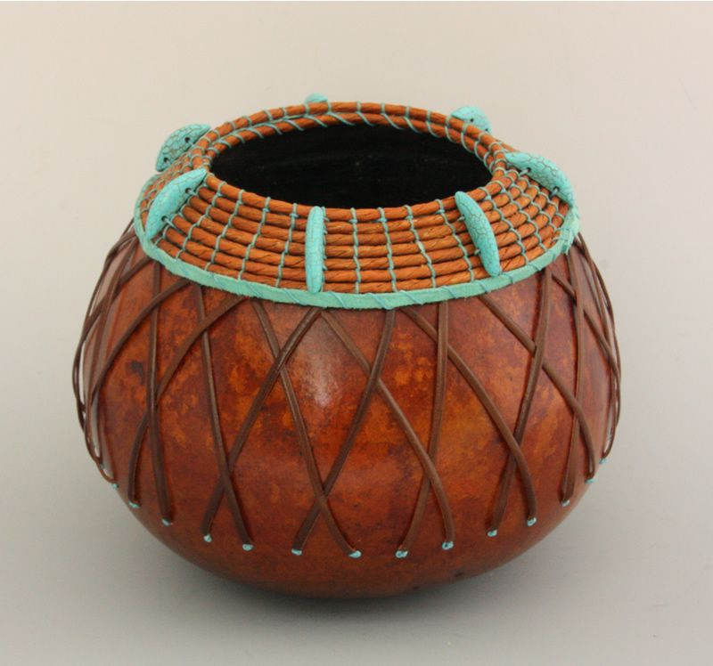 """Turquoise Turban"" - Gourd art by Susan Ashley at www.txweaver.com."