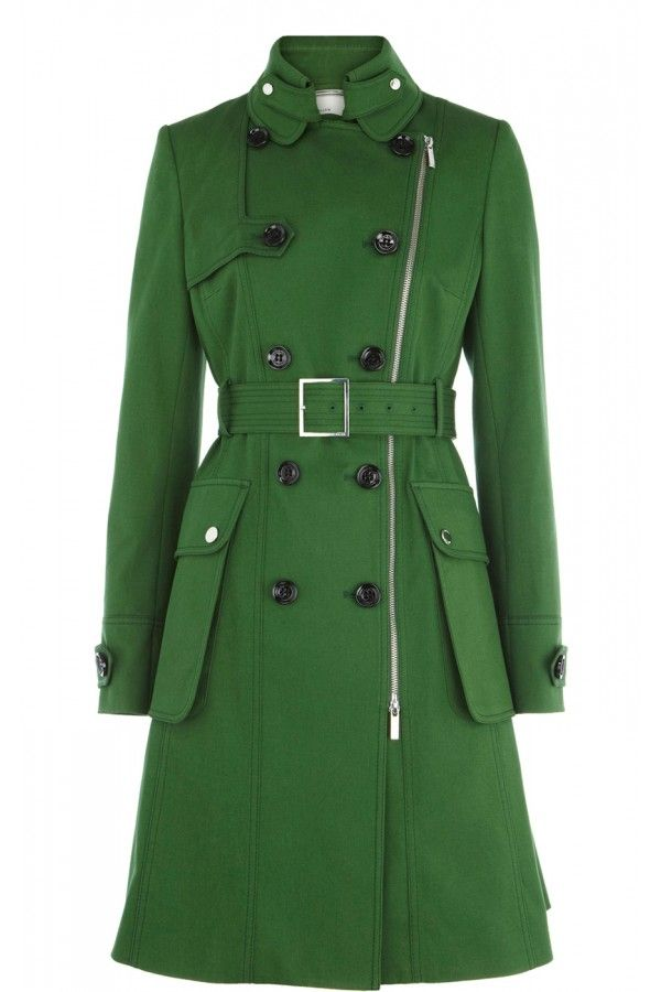 green coats for women | Karen-Millen-Posh-cotton-coat-green ...