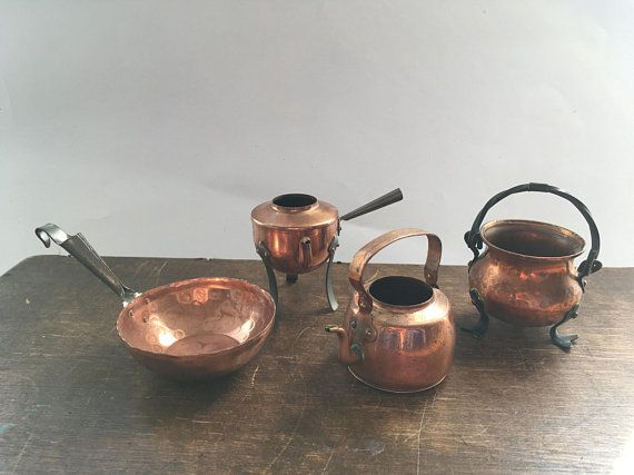 Kitchen Vessels Set Tables For Small Kitchens Swedish Copper Tableware Miniature Pan Kettle Dollhouse Shadowbox Di