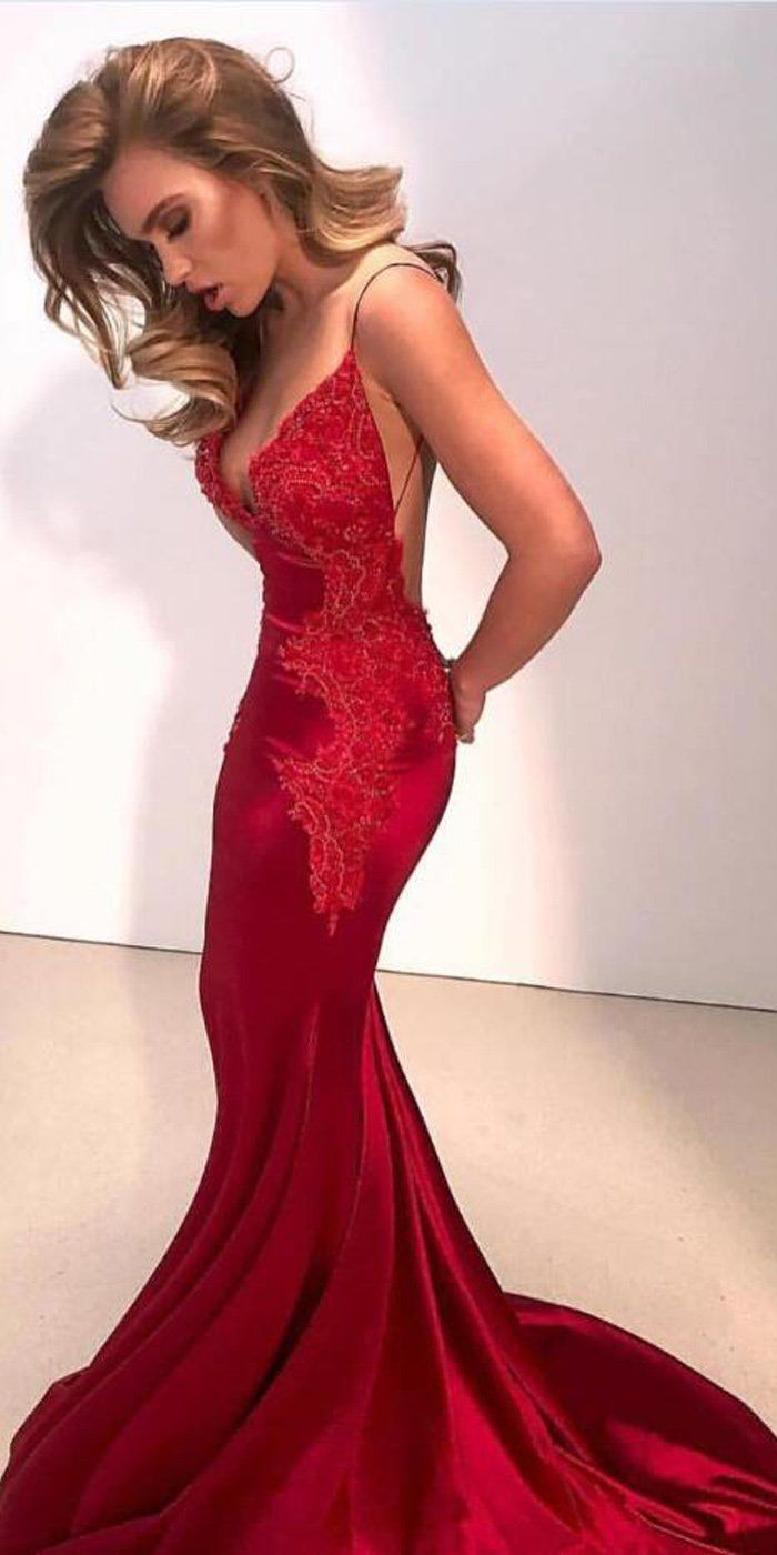 Sexy Mermaid Spaghetti Strap Red Lace Applique Long Prom Dresses