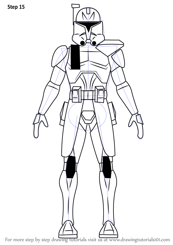 Learn How To Draw Captain Rex From Star Wars Star Wars Step By Step Drawing Tutorials In 2021 Star Wars Drawings Star Wars Silhouette Learn To Draw