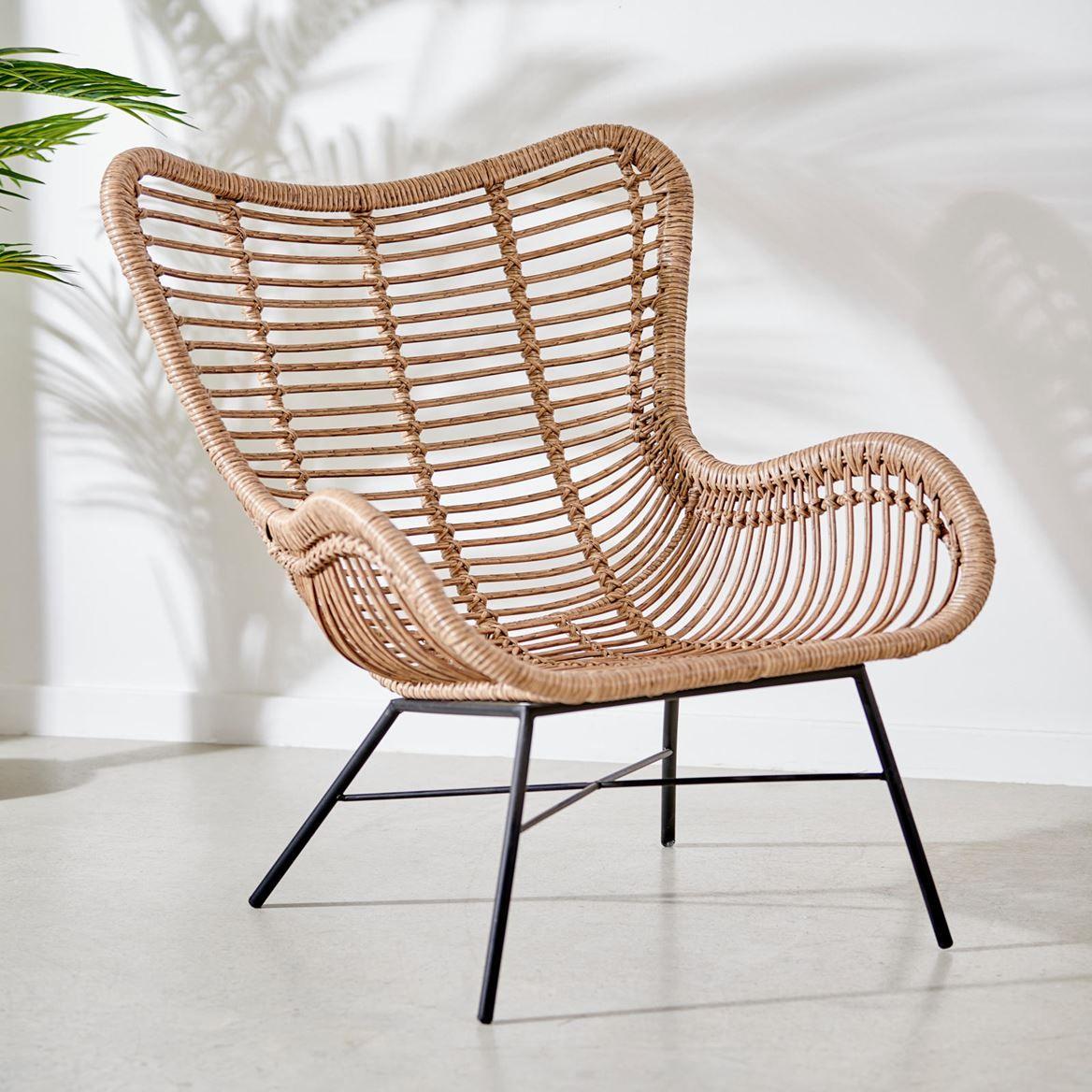 Tobago Chaise Lounge Noir Naturel H 91 X Larg 79 X P 71 5 Cm Specialiste Depuis 40 Ans Deja Casa Mobilier De Salon Chaise Rotin Lounge