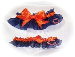 Handcrafted Navy Blue /& Orange Satin /& White Lace Football Wedding Garter Made Using Chicago Bears Fabric