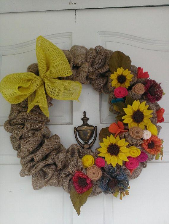 Photo of Items similar to Burlap Wreath, flower wreath, felt flowers on Etsy