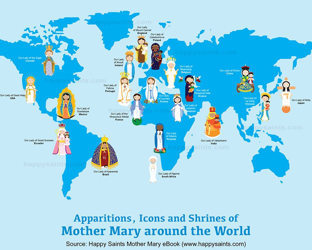 Happy saints map of mother mary around the world my roman happy saints map of mother mary around the world catholic saintsroman gumiabroncs